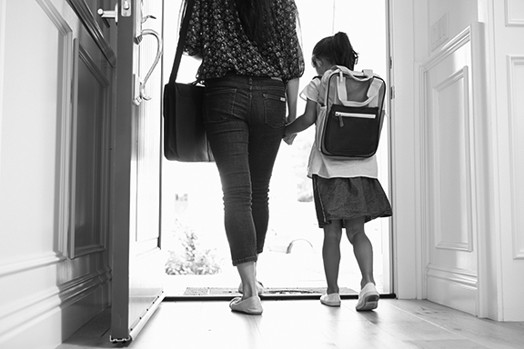 Mom Daughter Leaving for School 19 bw.jpg